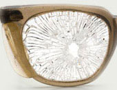shattered eye glasses